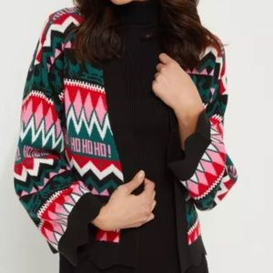 RUE 21 PINK HOLIDAY OPEN FRONT CARDIGAN SWEATER